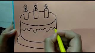 How to Draw Birthday Cake for Kids, drawing a cake for kids