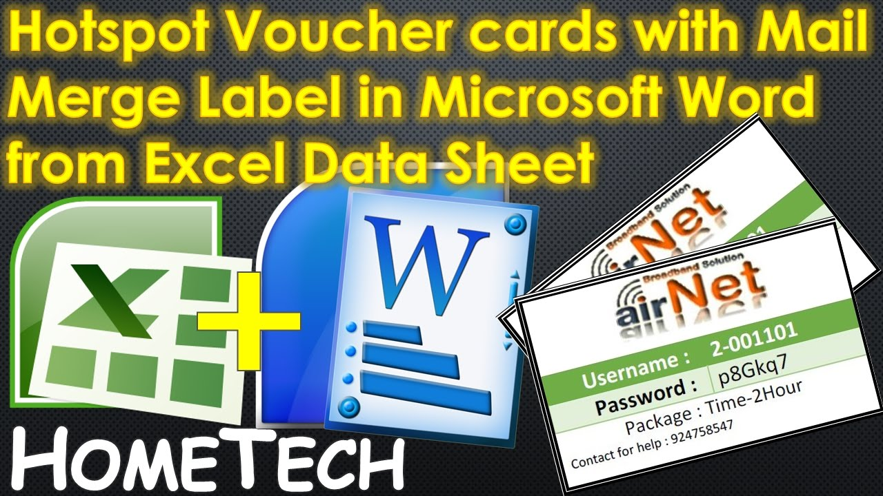 Create Hotspot Voucher Cards Using Mail Merge Label In Microsoft Word From  Excel Data Sheet  Create Voucher