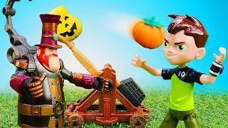 Видео про игрушки из мультфильмов! Бен Тен и Стим Смит оказались в замке. Хэллоуин игрушек