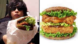 1個870円するモスの「にくカツにくバーガー」を食べる。