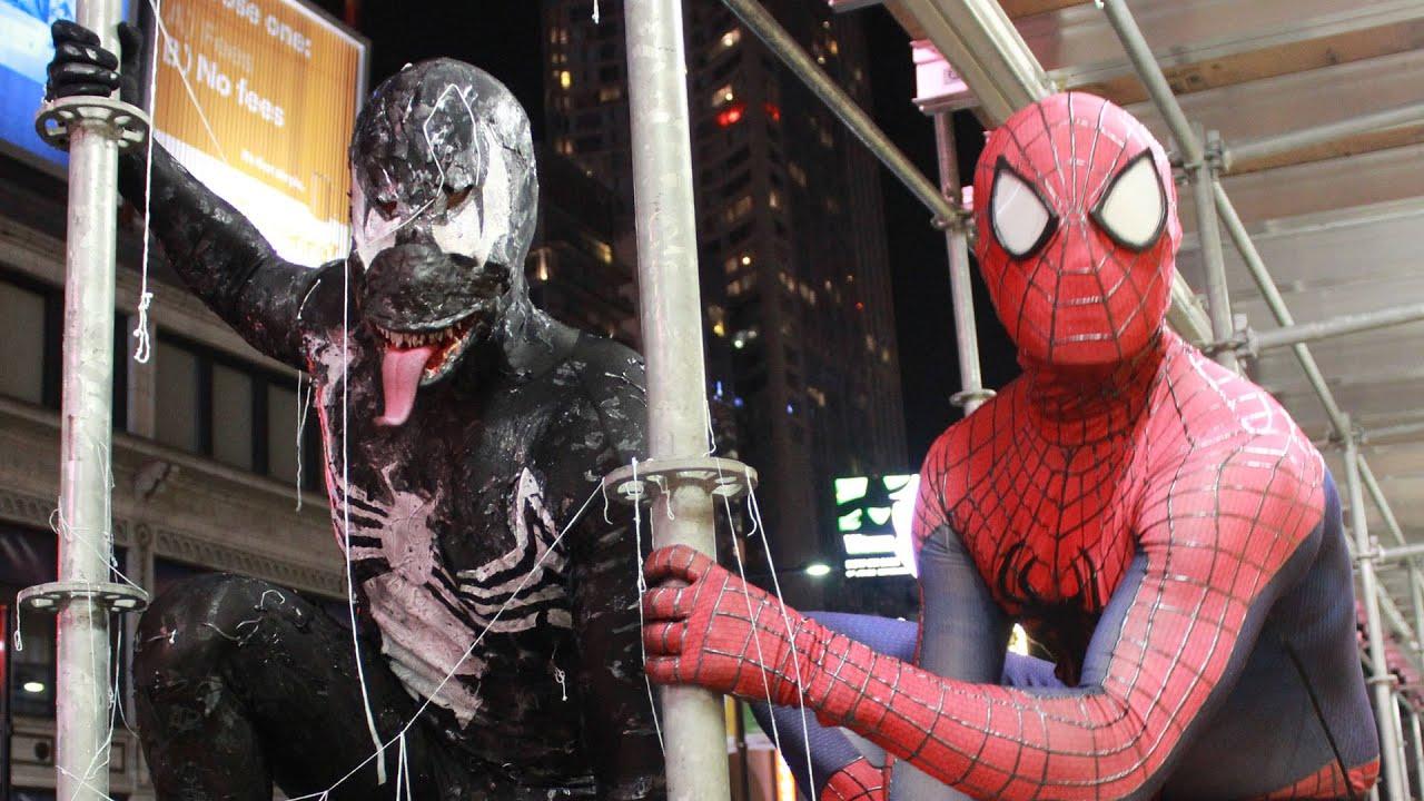 spider-man vs venom - real life superhero battle - youtube