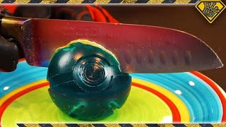 Gummy PokeBall and 1000ºF Glowing Knife Experiment
