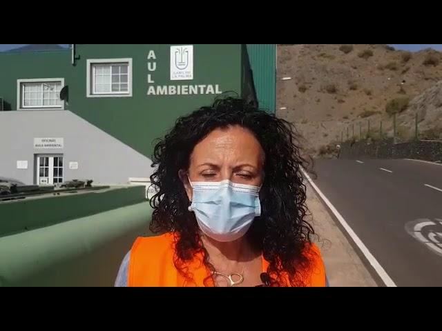 Declaraciones de la Consejera del Cabildo de La Palma Nieves R. Arroyo tras la visita al Complejo Ambiental de Los  Morenos