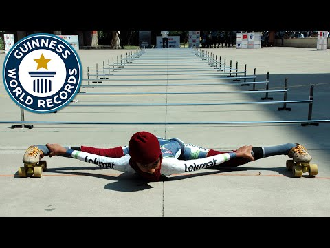Lowest limbo skating over 25 m - Guinness World Records