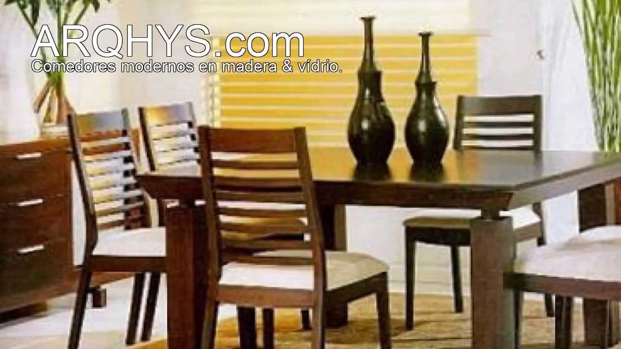 Comedores modernos de madera y vidrio youtube for Muebles de comedor moderno