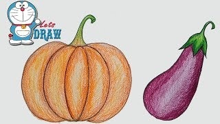 How to draw realistic vegetables / pumpkin & Brinjal step by step