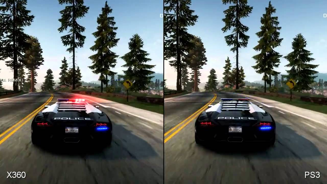 need for speed hot pursuit xbox 360 vs ps3 comparison. Black Bedroom Furniture Sets. Home Design Ideas