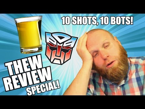 10 Shots, 10 Bots! Drunken Transformers Toy Review Challenge!!
