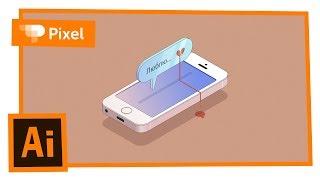 Рисуем смартфон в изометрии в Adobe Illustrator | уроки для новичков