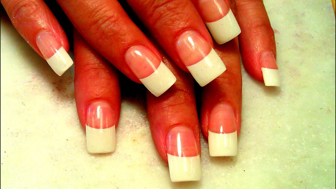 EASY WHITE TIPS ACRYLIC NAILS TUTORIAL - YouTube