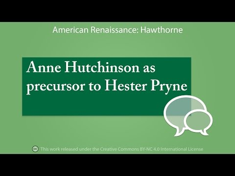 Anne Hutchinson as precursor to Hester Prynne