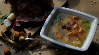 Гороховый суп.Гороховый суп с  копченой рулькой.Хлебные гренки для супа.