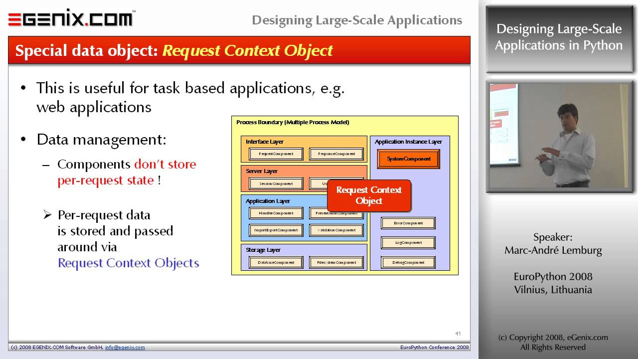 Europython 2008 Designing Large Scale Applications In Python Youtube