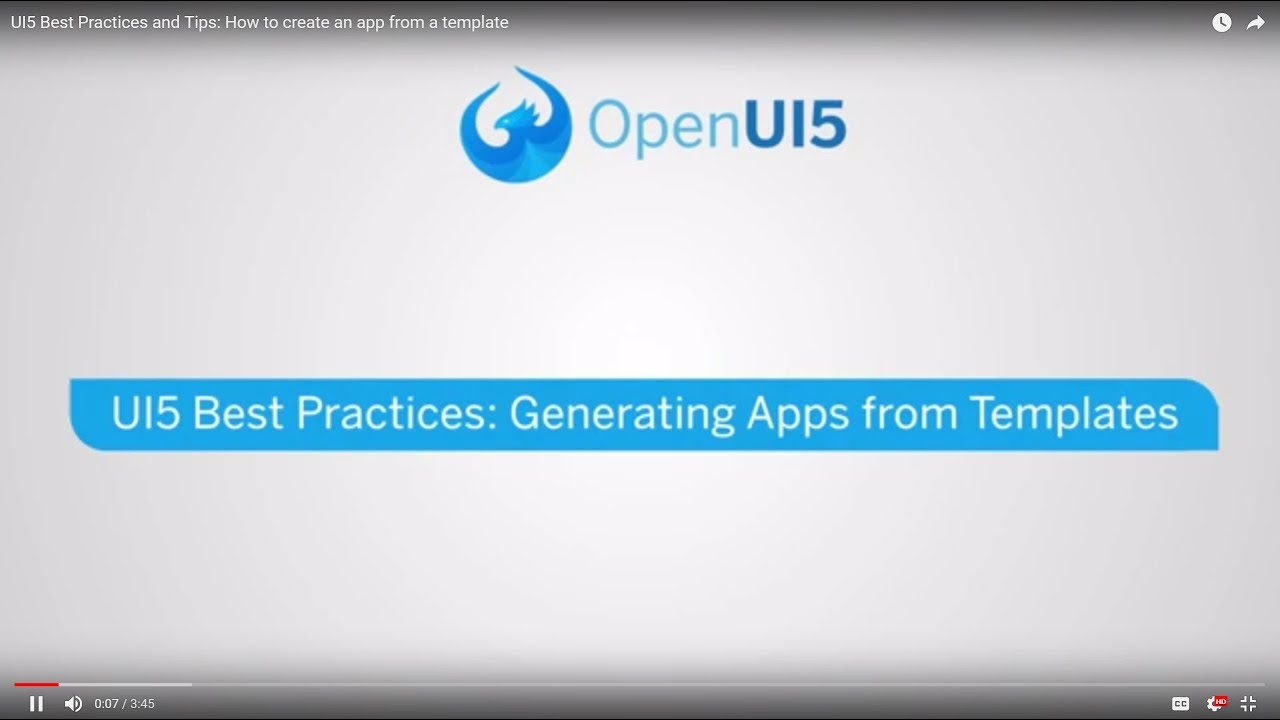 UI5 Best Practices and Tips: Generating Apps from Templates