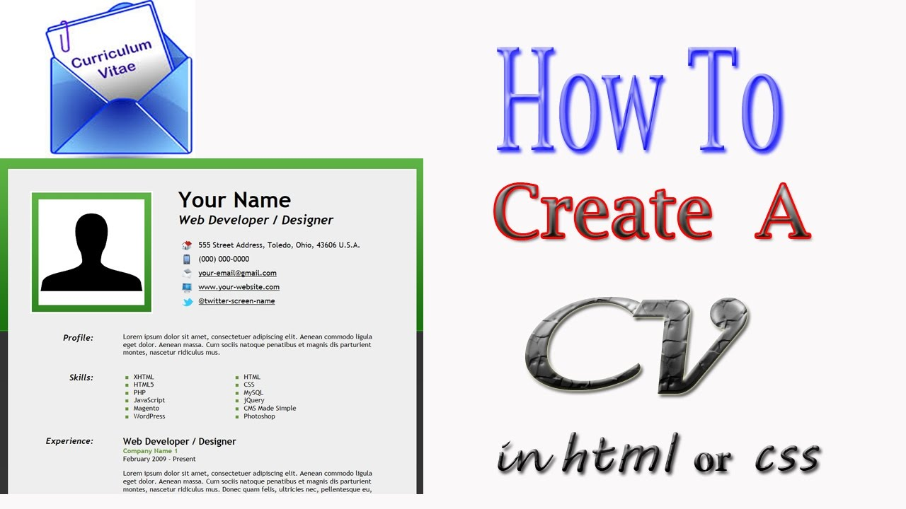 Create CV Card with HTML & CSS in urdu - YouTube