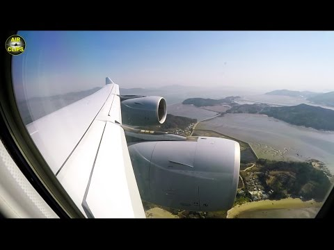 SCENIC Lufthansa A340-600 landing in Seoul-Incheon on a lovely sunny day! [AirClips]