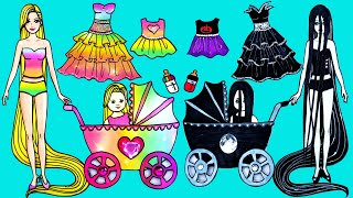 Paper Dolls Dress Up - Fairy Rapunzel and Ghost Sadako Mother and Daughter - Barbie Story & Crafts