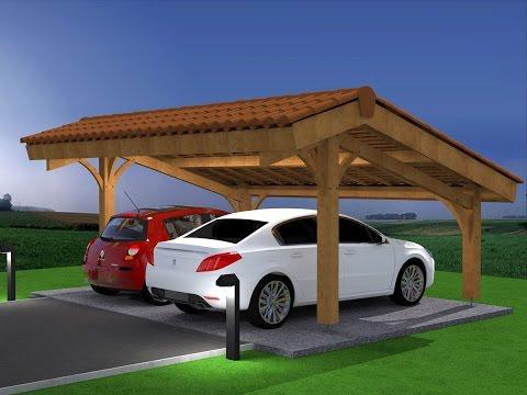 Démo montage abri voiture bois / carport 2 places en kit