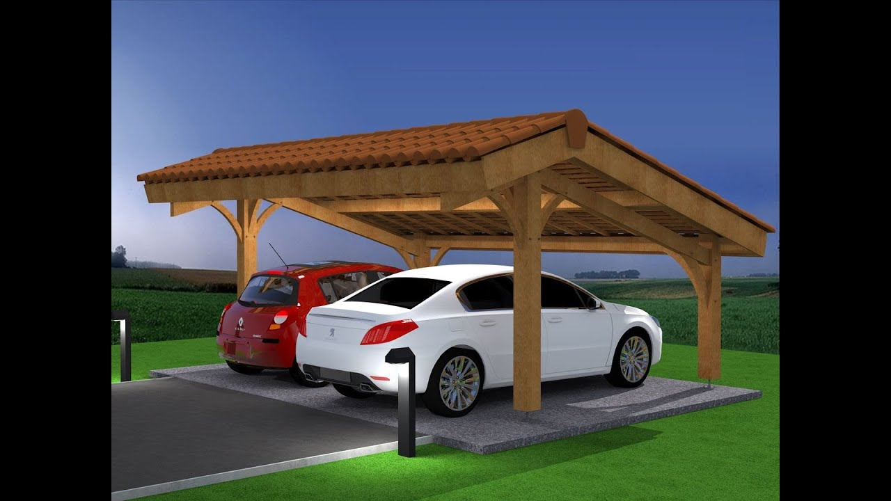 D mo montage abri voiture bois carport 2 places en kit for Amenagement jardin 100m2