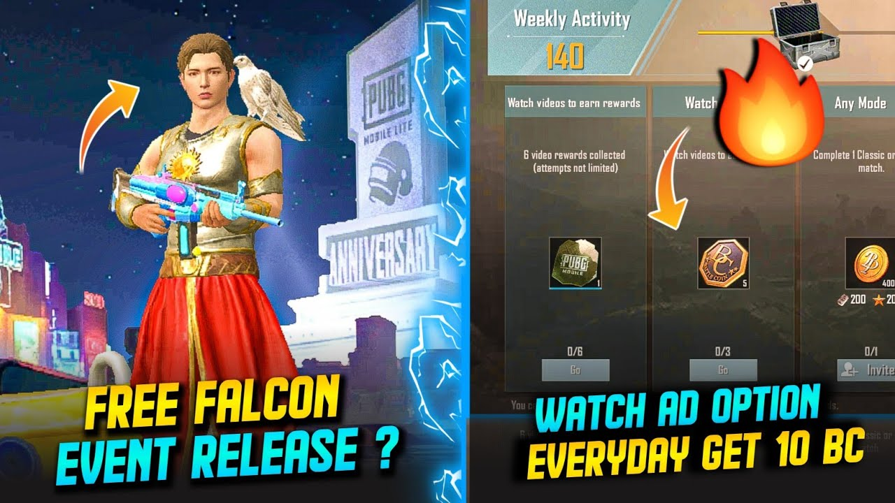 PUBG MOBILE LITE - FREE FALCON EVENT RELEASE DATE ? | EVERYDAY GET 10 BC ? | JUST ASK #1
