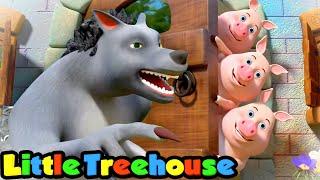 Three Little Pigs   Nursery Rhymes & Kids Songs   Cartoon Stories by Little Treehouse
