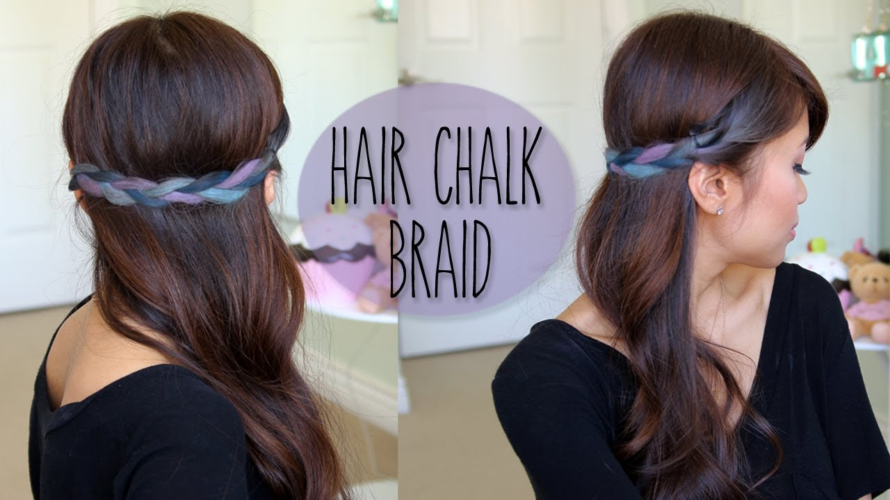 Diy Rainbow Braid Hairstyle Splat Hair Chalk Tutorial Youtube