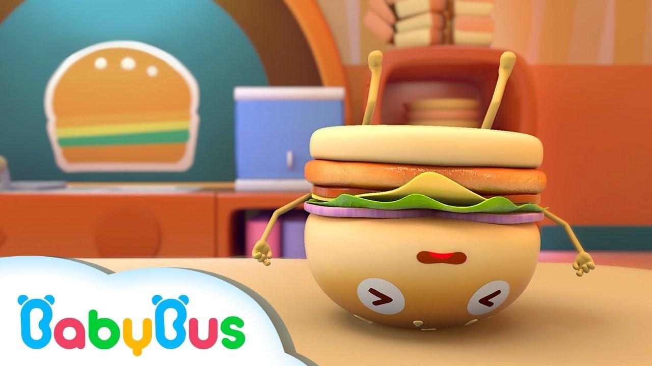 五個漢堡🍔摔倒了,奇奇很生氣 | 兒童歌曲 | 幼兒音樂 | 兒歌 | 童謠 | 動畫片 | 卡通片 | 寶寶巴士