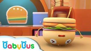 五個漢堡????摔倒了,奇奇很生氣 | 兒童歌曲 | 幼兒音樂 | 兒歌 | 童謠 | 動畫片 | 卡通片 | 寶寶巴士