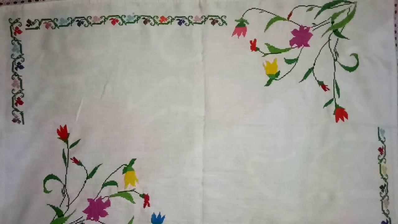 Hand Embroidery Cross Sch Work On Tea Table Cloth