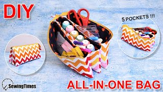 DIY ALL-IN-ONE TRAVEL POUCH BAG | How to make a zipper pouch with 5 pockets Tutorial [sewingtimes]