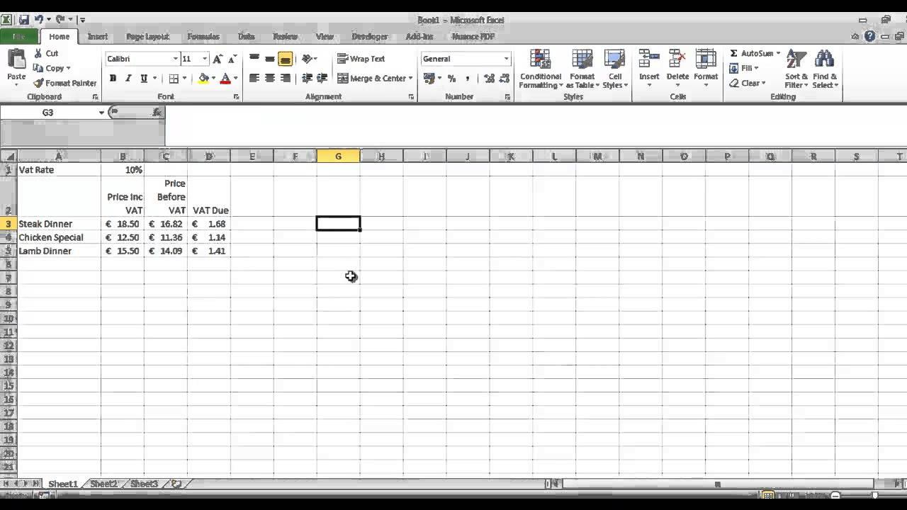 VAT calculations in Excel - YouTube