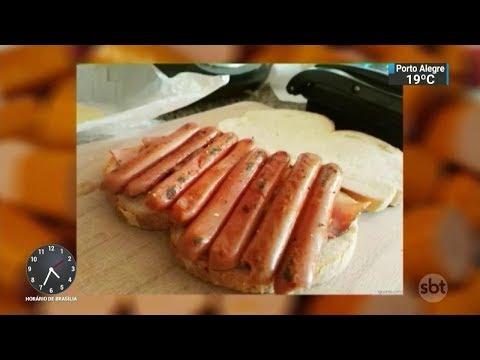 """Mulher passa mal após 20 dias seguindo """"dieta da salsicha""""   SBT Notícias (19/10/17)"""