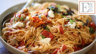 Angel Hair Pasta with Roasted Tomato Sauce and Fresh Mozzarella