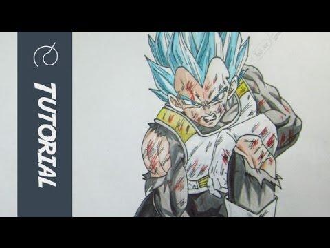 Como dibujar a vegeta ssj Dios  how to draw vegeta ssj god blue