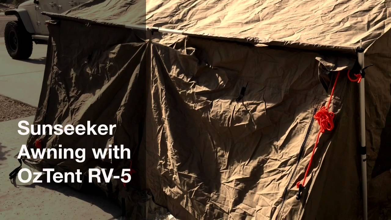 Sunseeker Awning With OzTent RV-5 & Sunseeker Awning With OzTent RV-5 - YouTube