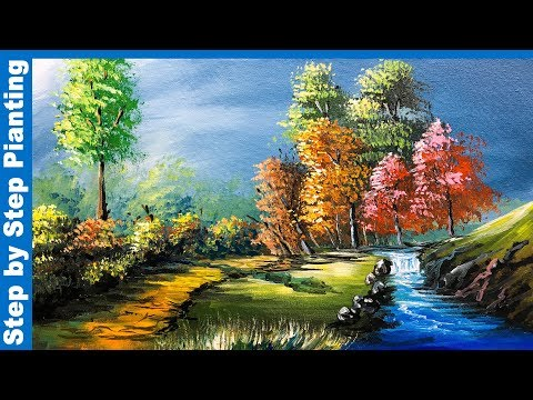 A Beautiful Red Forest Painting 2019 Acrylic Painting Tutorial Landscape Painting Painting With Oil Paints