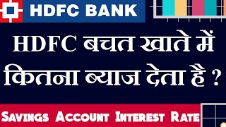 HDFC Bank Savings Account Interest Rate 2021 | HDFC Bank Savings Account Interest Rates | HDFC Bank