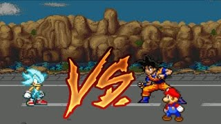Super Sonic God Super Sonic vs Goku y Mario