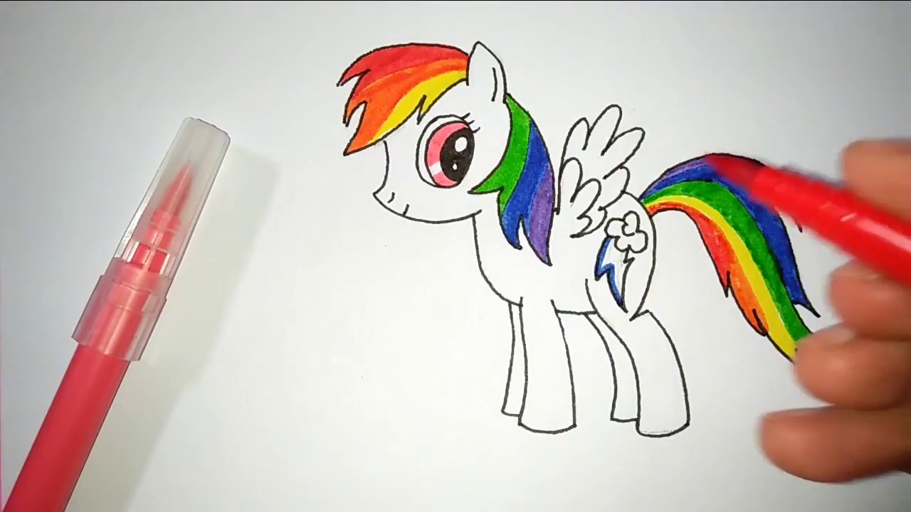 Belajar Menggambar Dan Mewarnai My Little Pony Rainbow Dash Menggambar Dan Mewarnai Kuda Poni Youtube