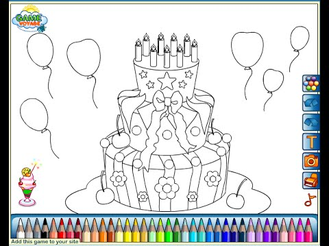 Birthday Cake Coloring Pages For Kids - Birthday Cake Coloring Pages ...