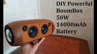 DIY Powerful Bluetooth BoomBox 50W(2x25W) 14000mAh Battery
