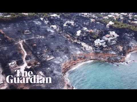 Greek wildfires: drone footage shows extent of devastation