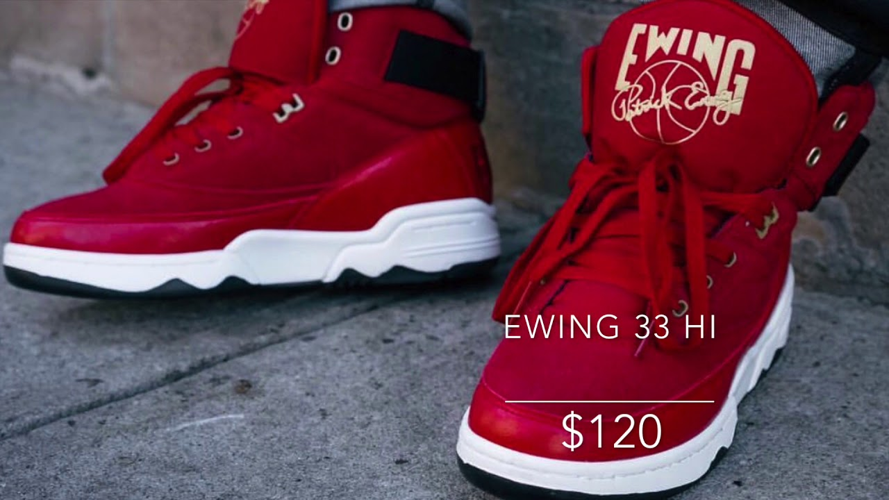 3708ff5ea920 EWING 33 HI RED BLACK WHITE GOLD AVAILABLE NOW!! - YouTube