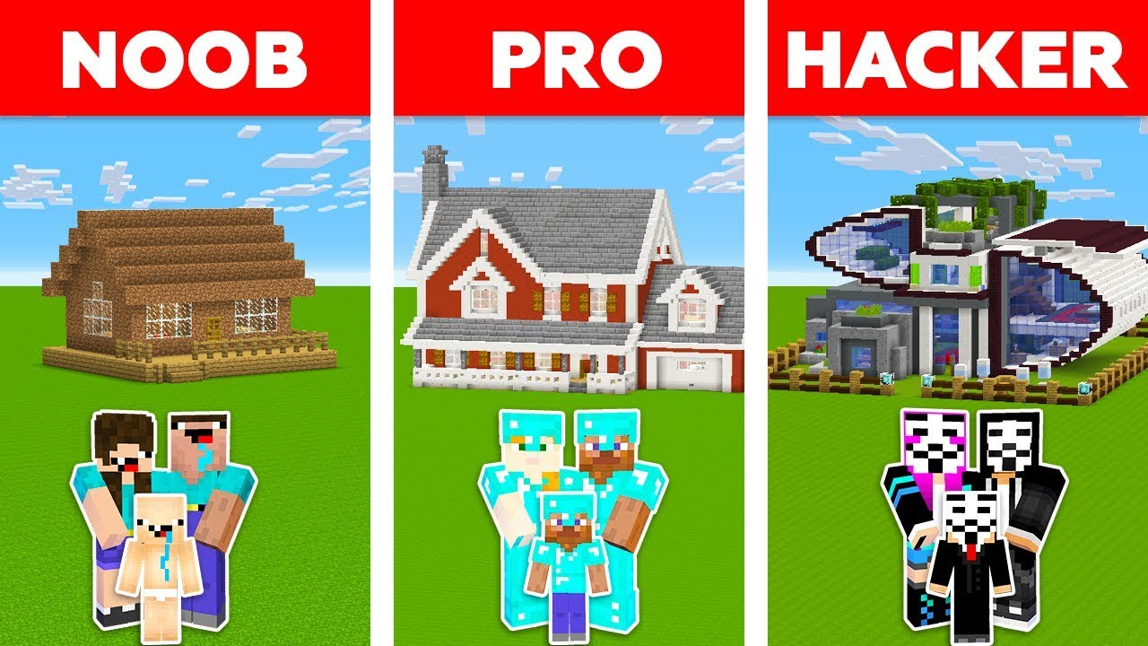 Minecraft Noob Vs Pro Vs Hacker Family House Challenge