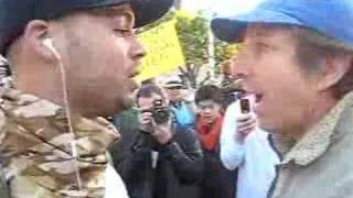Liberal hot-head argues with Marines supporters in Berkeley