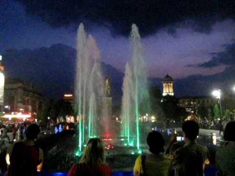 Craiova, Romania, city center - The sensorial fountain 2- music, colour, lights, water drops :)