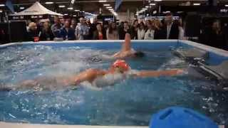 Adam Walker swims with Mark Foster in an Endless Pool