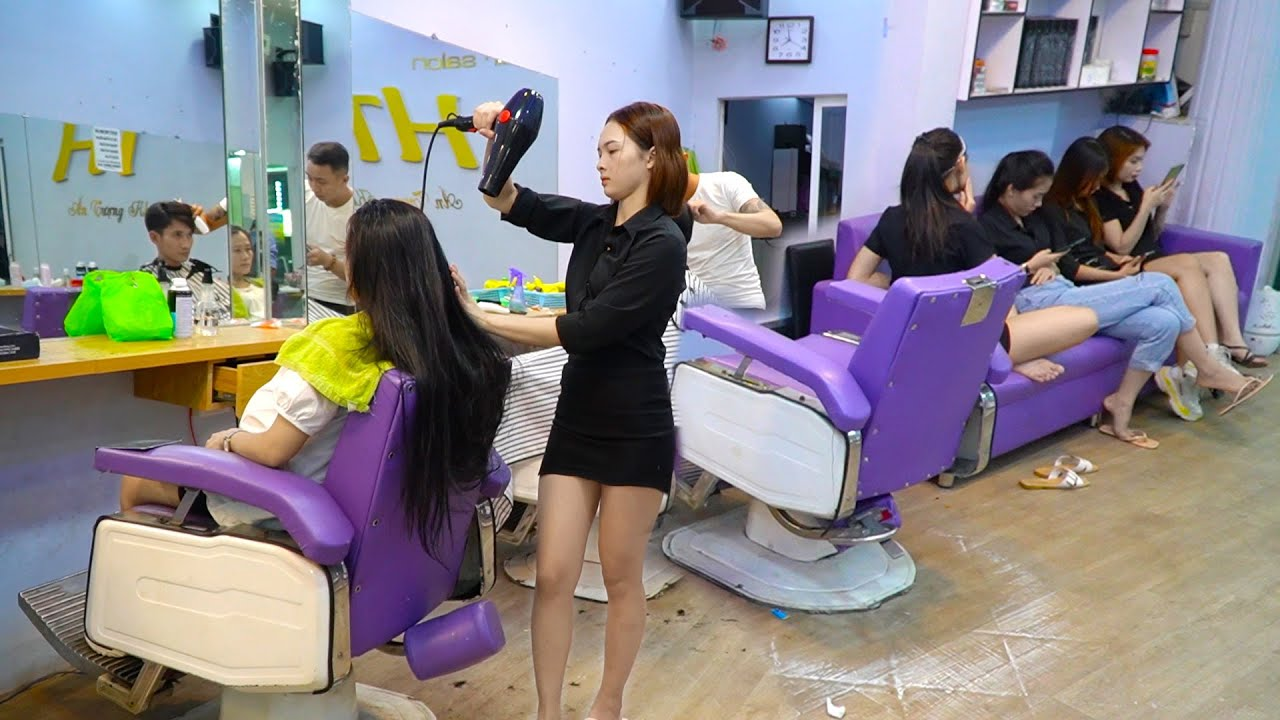 Vietnam Barber Shop ASMR Massage Face and Wash Hair with Beautiful Girl