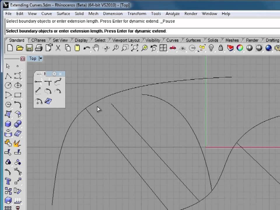 Rhino 5 Tutorial | Extending Curves | InfiniteSkills Training