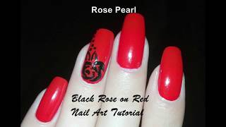 Black Rose on Red Nail Art Tutorial: No Tools Nail Art Design | Rose pearl